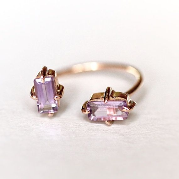 Amethyst gold open ring Rose Gold ring Purple stone by Handmix