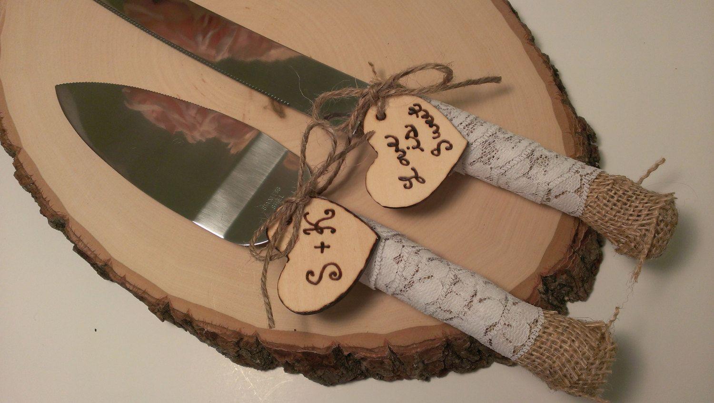 Rustic Wedding Cake Knife Customized Burlap By RedHeartCreations 3300