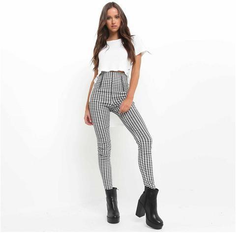 33e387e4e Checker High Waist Zipper Fitted Leg Plaid Tight Pencil Trousers Pants