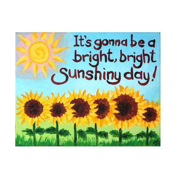 Whimsical Art, Bright Sunshiny Day, 14x11 Acrylic Canvas Wall Art ...