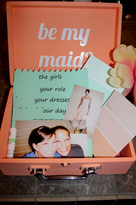 Cute way to ask someone to be your bridesmaid! Put in all the info ...
