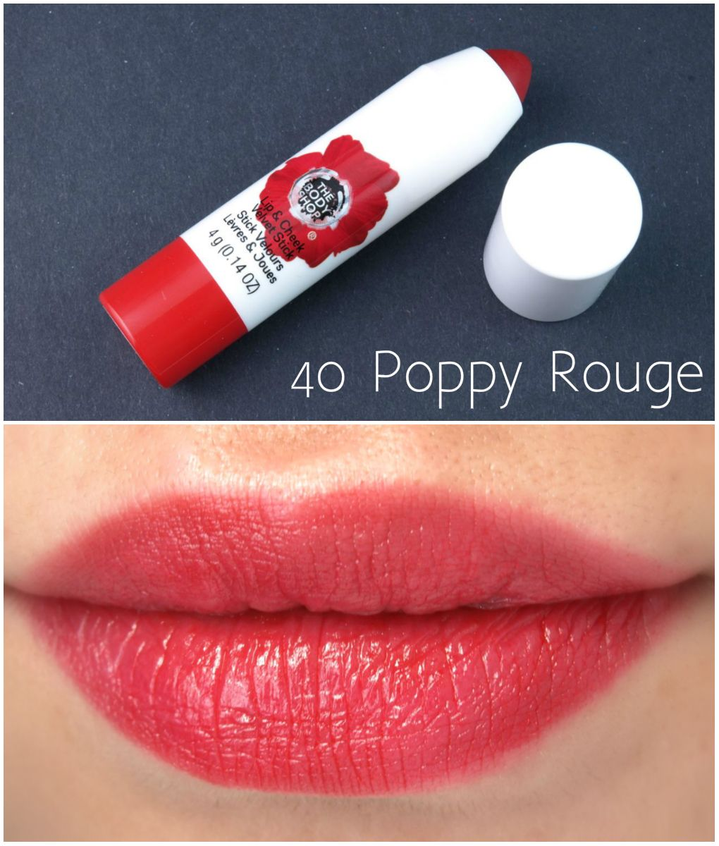 The Body Shop Lip Cheek Velvet Stick In Poppy Rouge Matte Up Tint Face Universal Review And Swatches