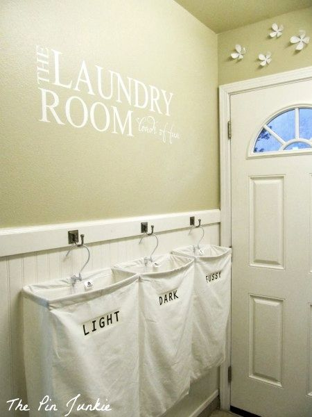 Laundry Room Makeover With Personalized Hanging Laundry Bags The