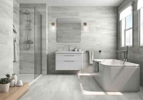 Roca Tile 8 X 33 Fossil White Wood Look Porcelain Tile On Sale 3 25 Per Sq F Tile Bathroom Wood Grain Tile Bathroom