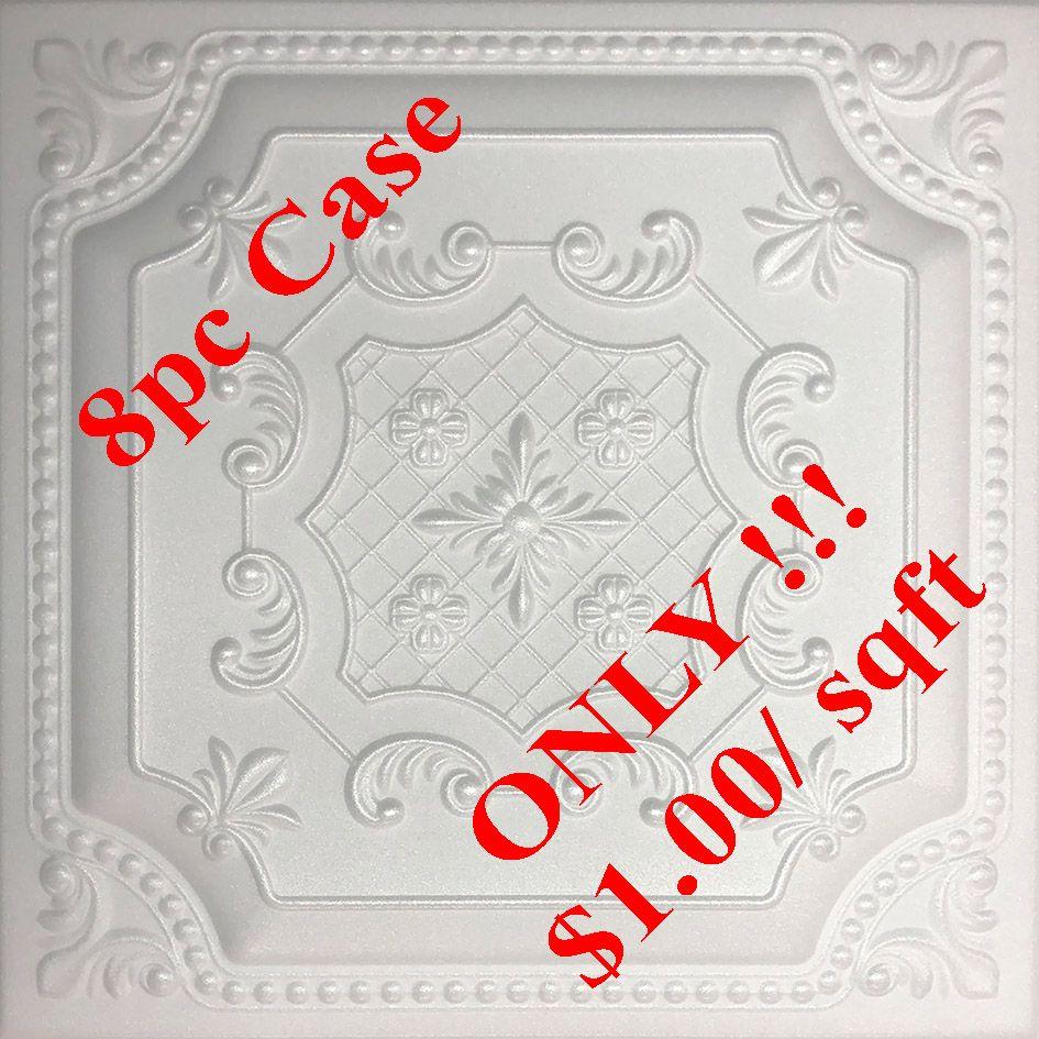 "DIY Styrofoam Ceiling Tile PRINCESS White Glue Up 20/"" x 20/"""