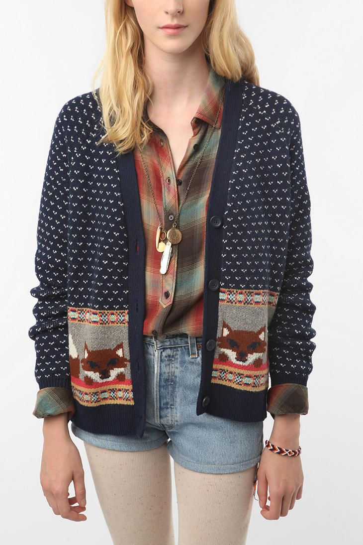 Urban Outfitters Ugly Christmas Sweater.Cooperative Intarsia Cardigan Urban Outfitters Cardigans