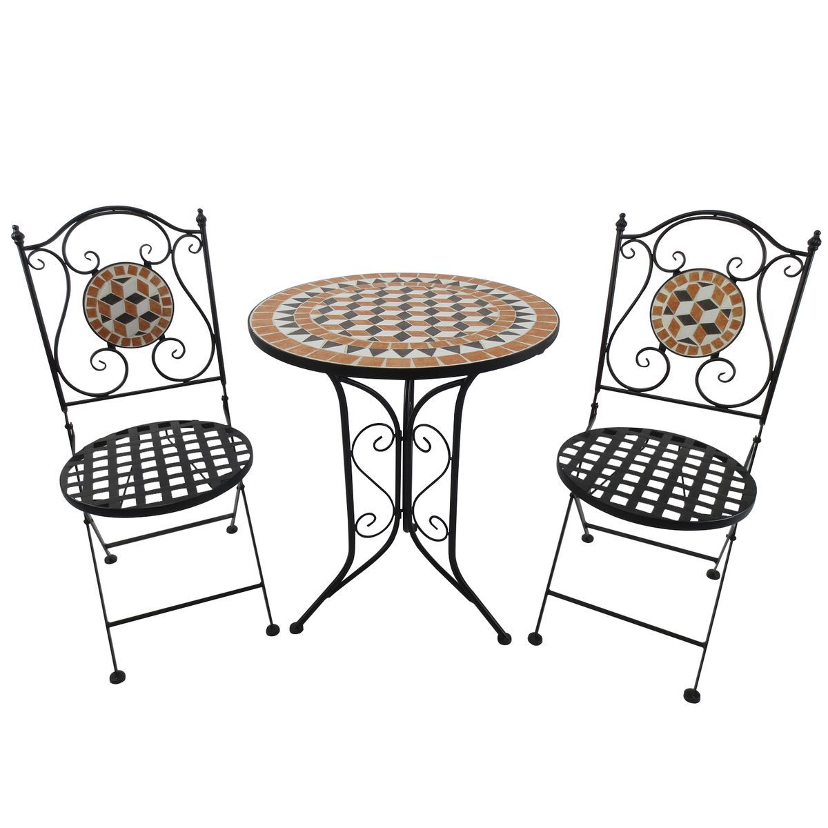 Salon De Jardin 2 Pers Style Fer Forge Mosaique Taille 4 Pers