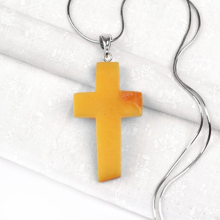 Natural Butterscotch Amber Cross Pendant