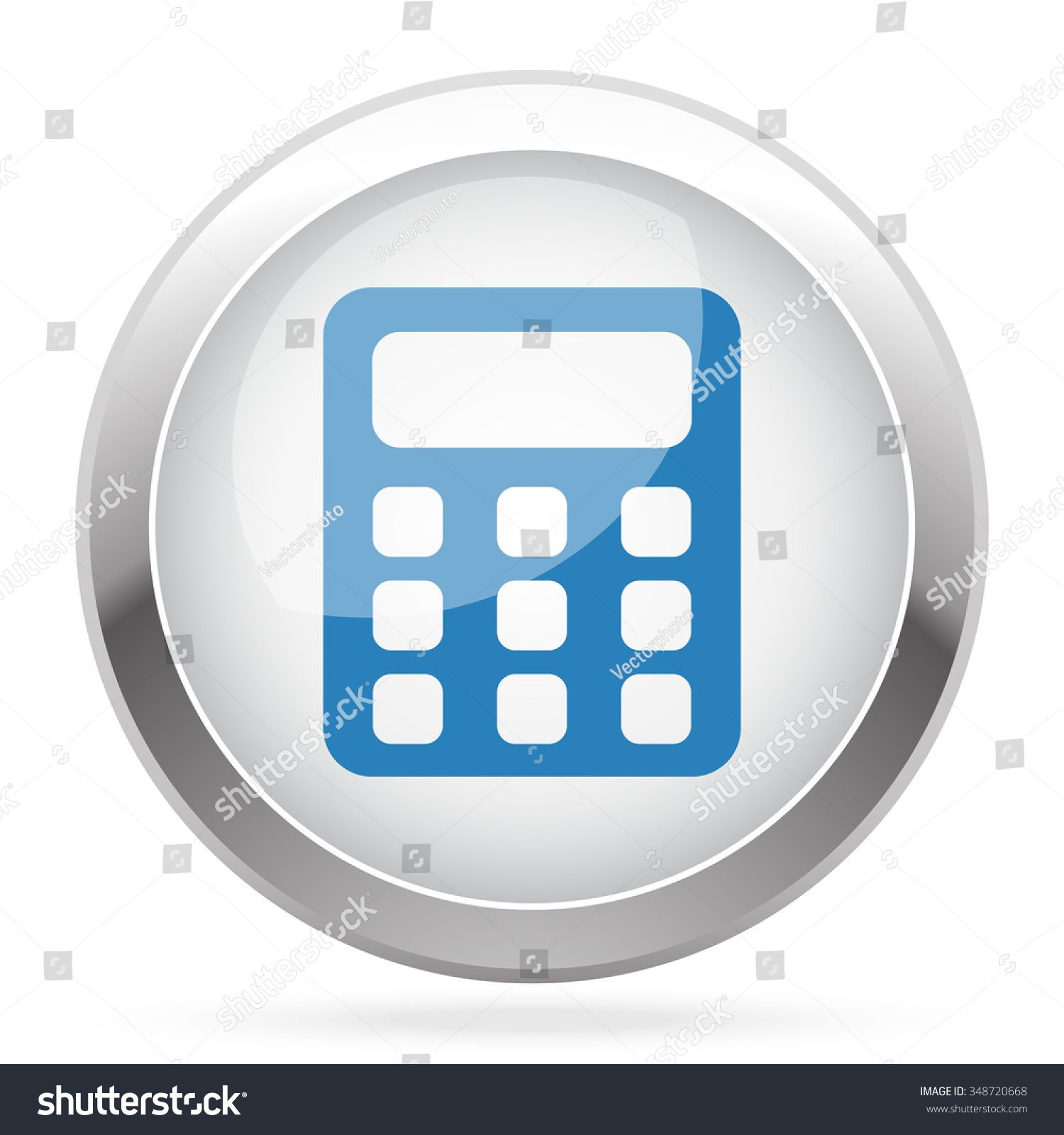 Blue Calculator icon on white glossy chrome app button Ad