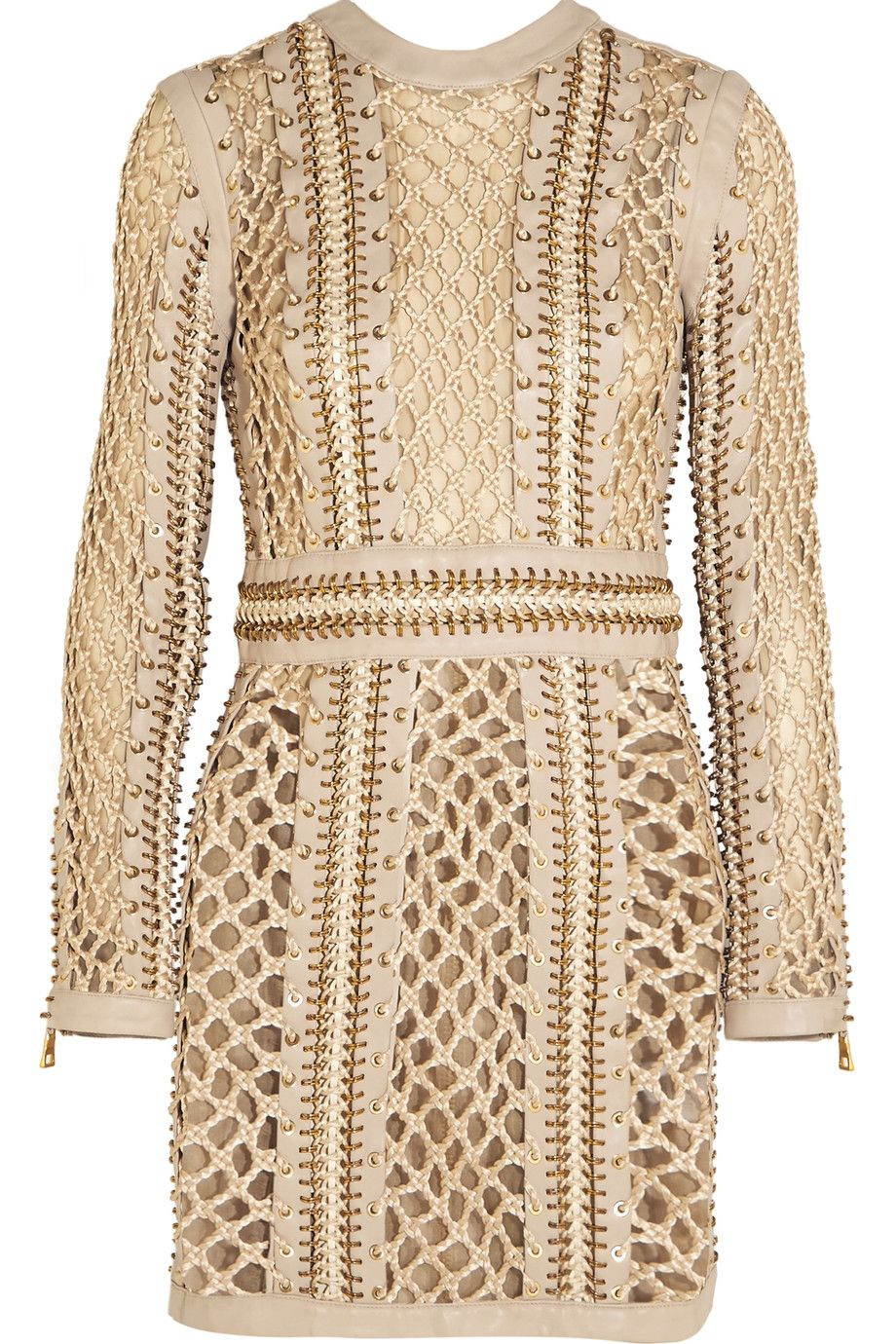 c603cefb BALMAIN Woven silk and leather mini dress. #balmain #cloth #dress ...
