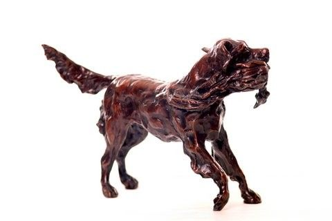"""Setter """"doing his job"""" in Bronze.  Limited Edition 1 of 10 by Marylee Moreland.  More info on web.  www.cimarronrivercompany.com"""