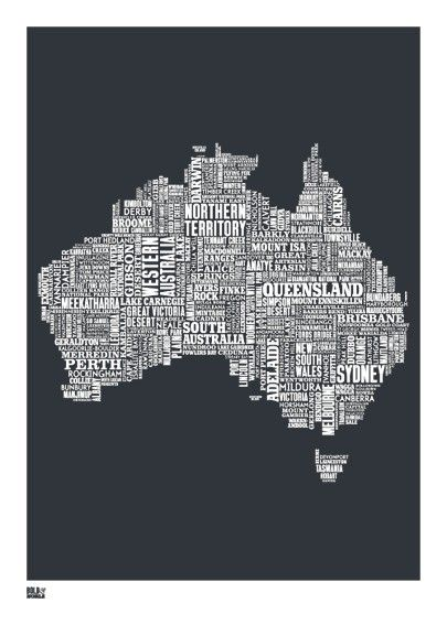 bold and noble type map australia print