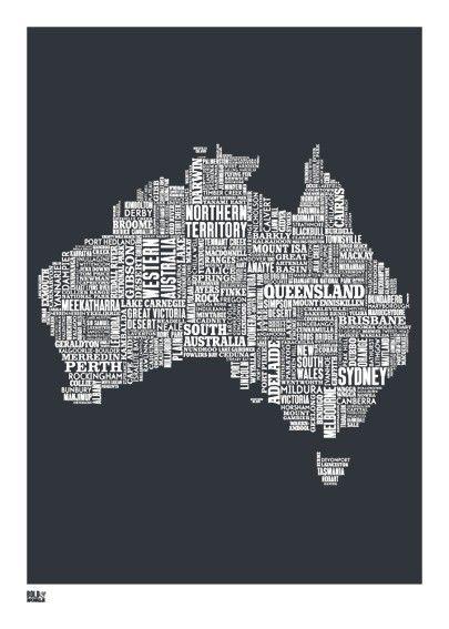 Australia Word Map.Australia Map Australia Print Australia Type Map Australia Word
