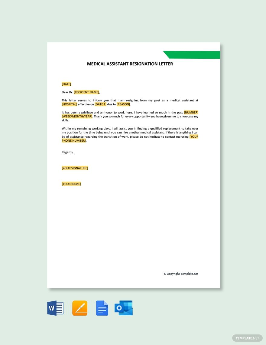 Free medical assistant resignation letter template word
