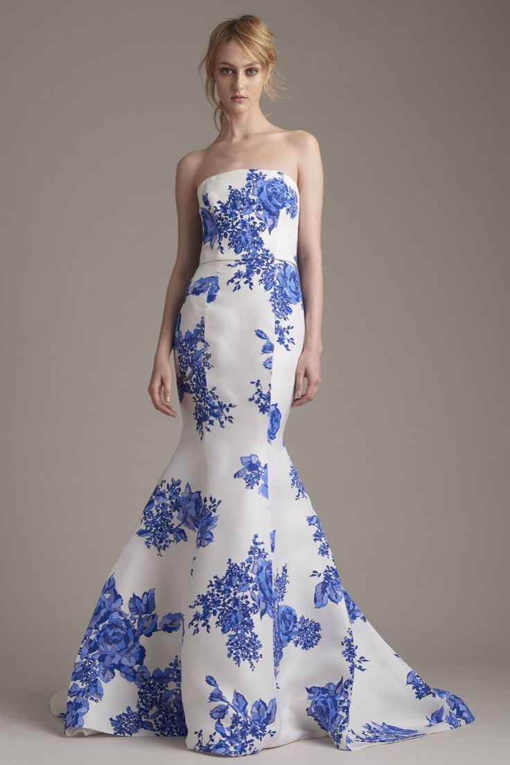 Long white and blue floral dress clothes pinterest monique long white and blue floral dress izmirmasajfo
