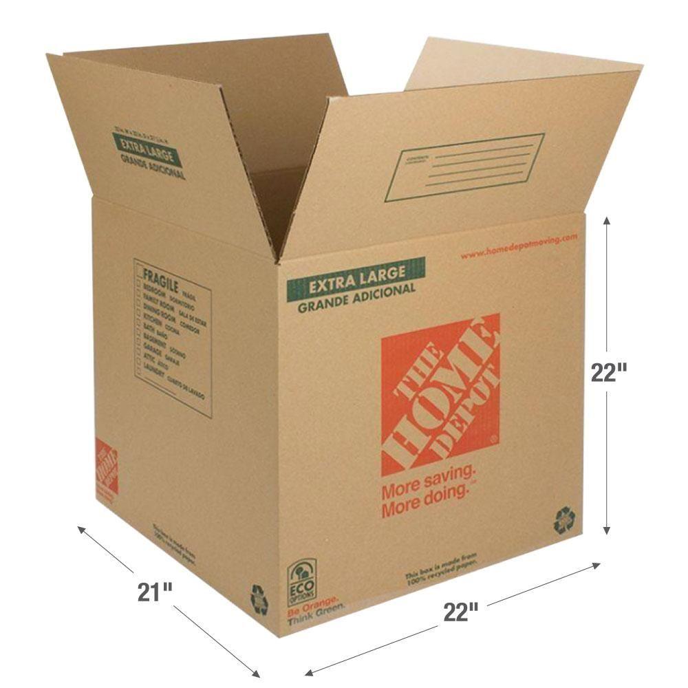 The Home Depot 22 In L X 21 In W X 22 In D Extra Large Box 1001015 The Home Depot Large Moving Boxes Moving Supplies Extra Large
