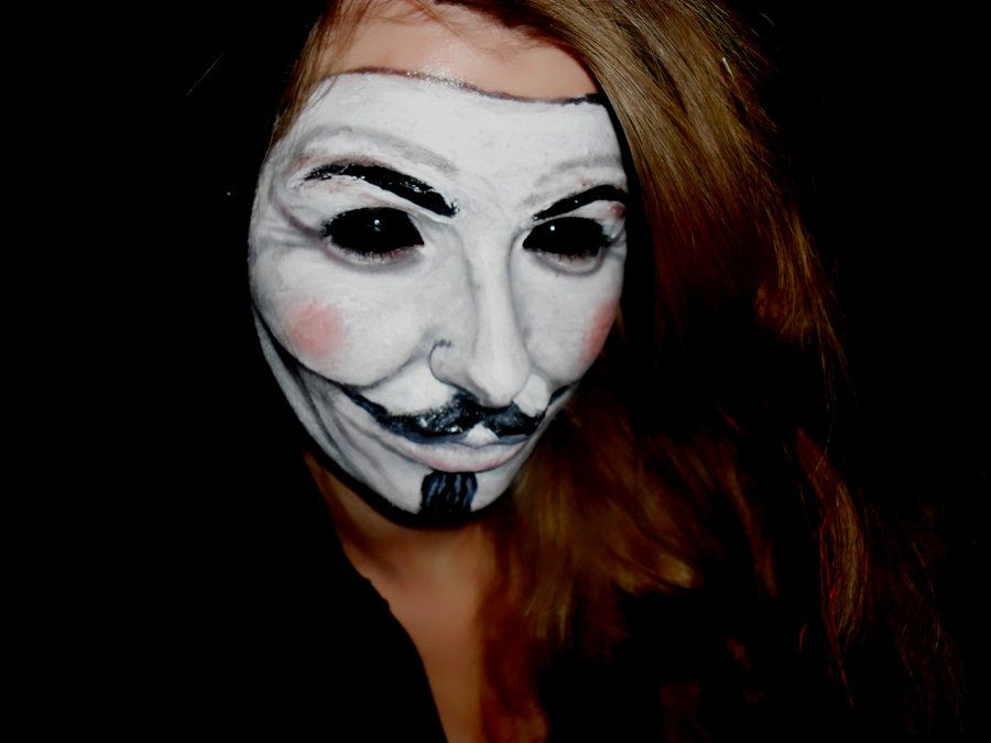 Why get a mask when you can paint on a Guy Fawkes mask?