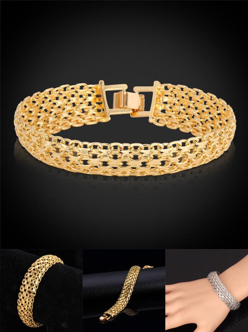 Visit to buy hollow wide chain u link bracelet for men net chain