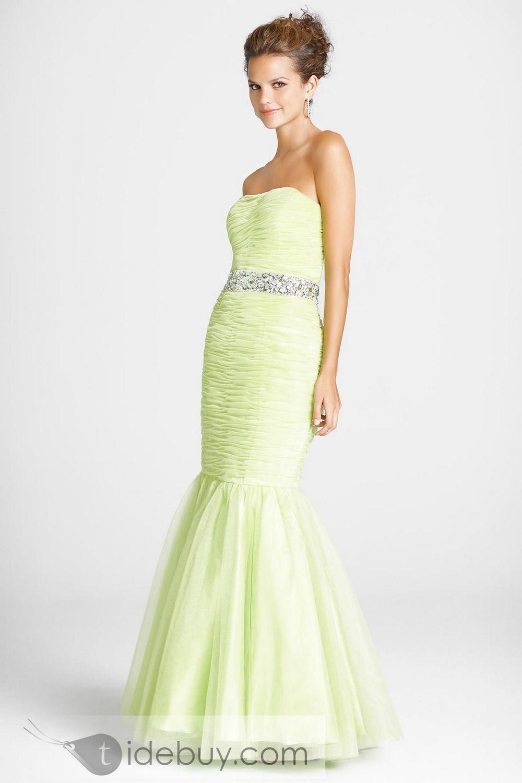 Mermaid strapless beading belt ruffles dresses prom pinterest