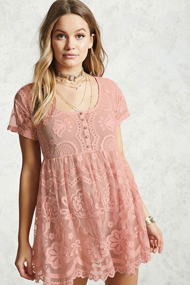 84283dc6718f4 Sheer Lace Babydoll Dress | Forever 21 in 2019 | Dresses, Summer ...
