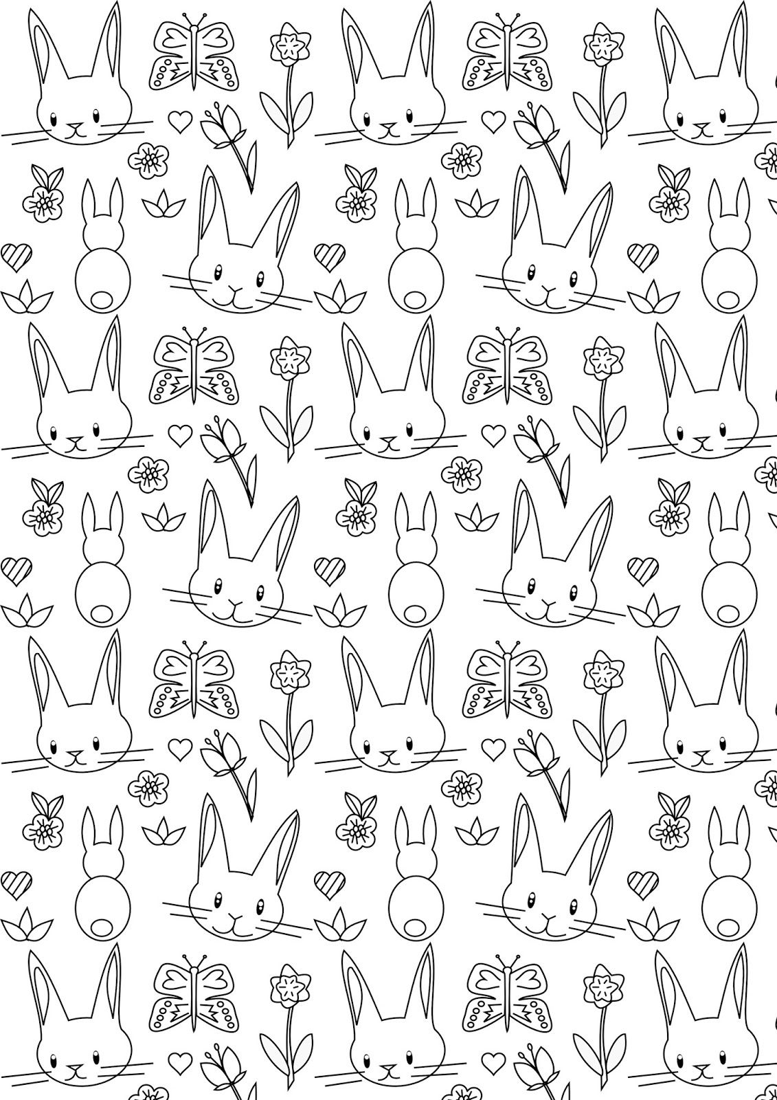 Free printable bunny coloring page - ausdruckbares Ausmalpapier ...
