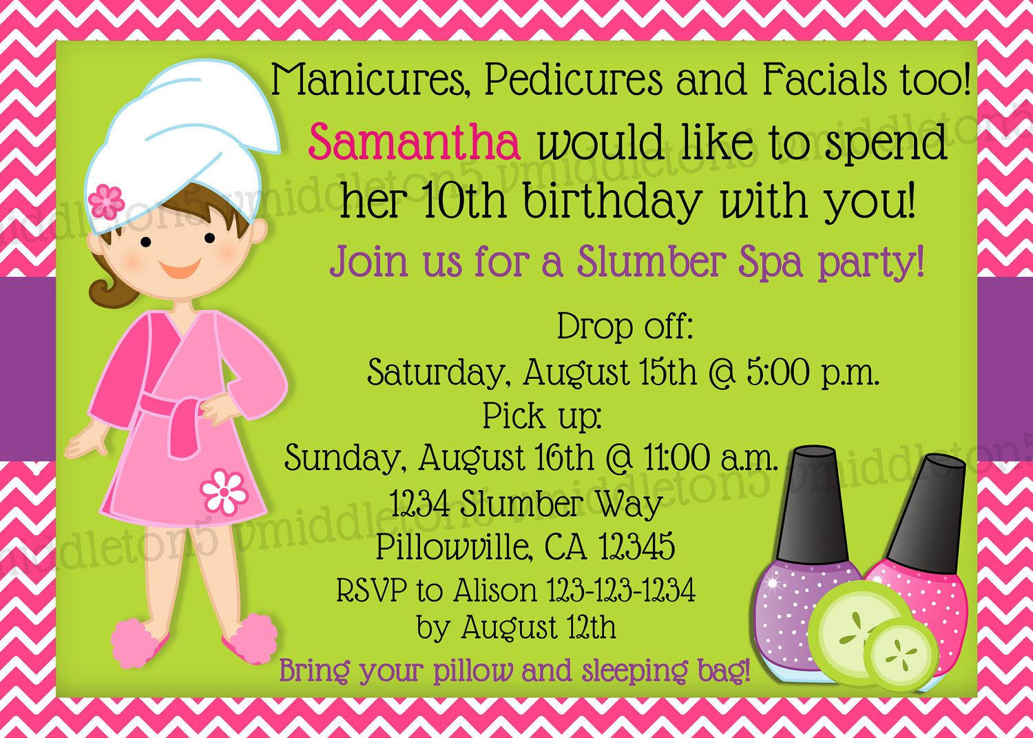 Slumber party spa party birthday invitation print your own 5x7 or slumber party spa party birthday invitation print your own 5x7 or 4x6 monicamarmolfo Image collections