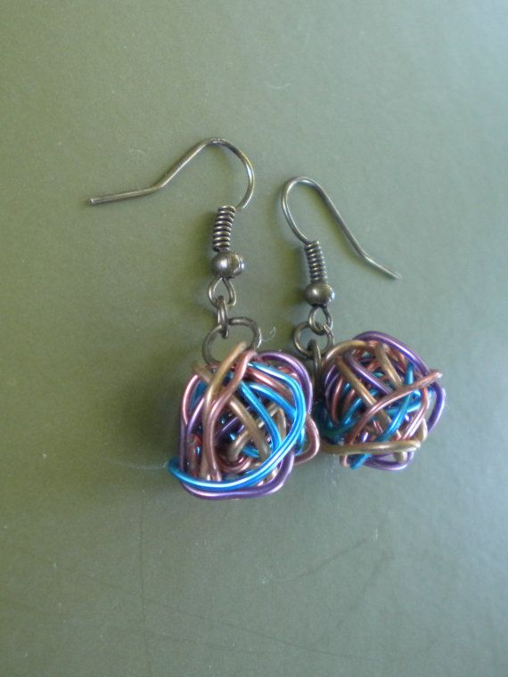 Handmade Colored Wire Ball Dangle Earrings by WhittleHeartDesigns ...