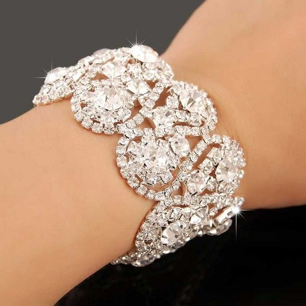 2016 Crystal Rhinestone Stretch Bangle Bracelet Wedding Bridal Women Charm Gift