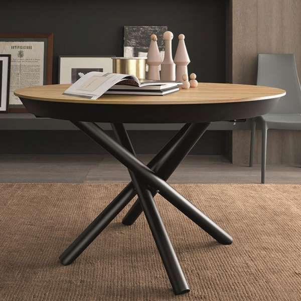 Table Design Extensible Ronde En Bois Avec Pied Central Forme Mikado Fahrenheit En 2020 Table Ronde Extensible Table Design Extensible Et Table A Manger Ronde Extensible