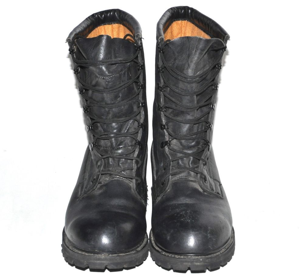 Black Leather Insulated Military Combat Boots Men Size 12 R ...