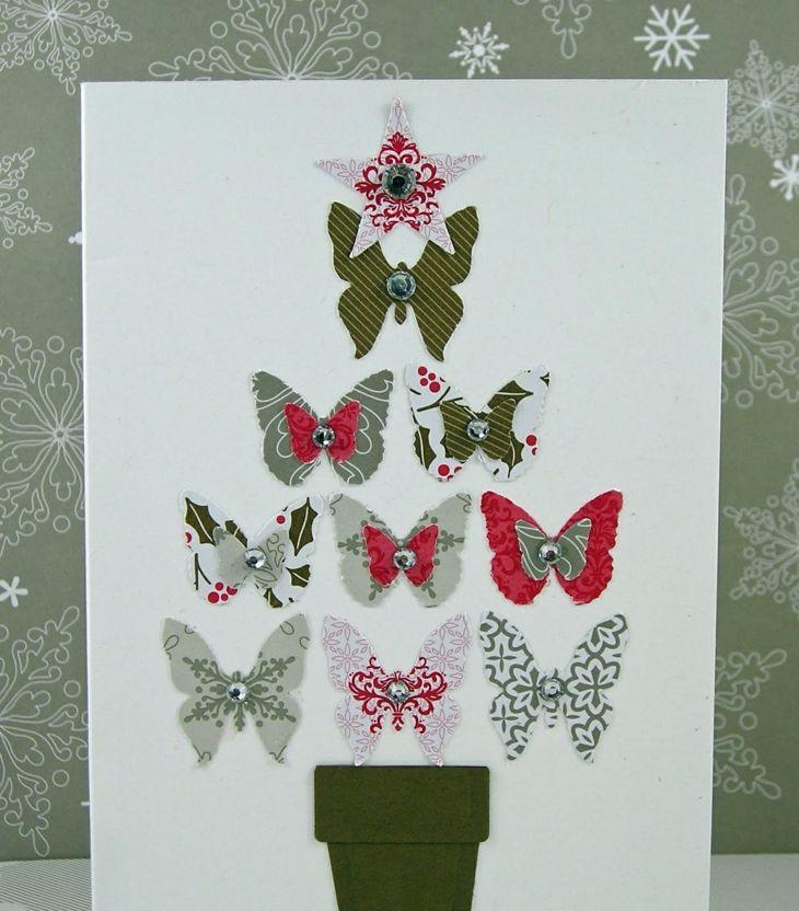 Tarjetas de navidad originales diy arbol navidad mariposas - Fotos originales para hacer en casa ...