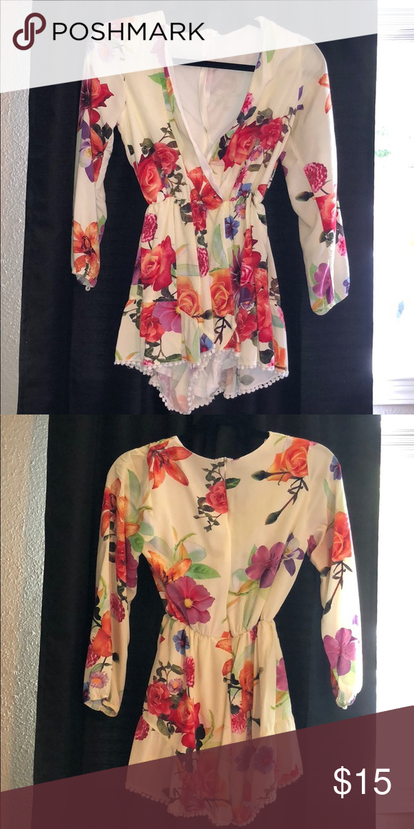 6e3337939b2 Floral romper Off white romper with colorful floral pattern. It s been my  Valentine s Day staple several times! Super cute. Dresses