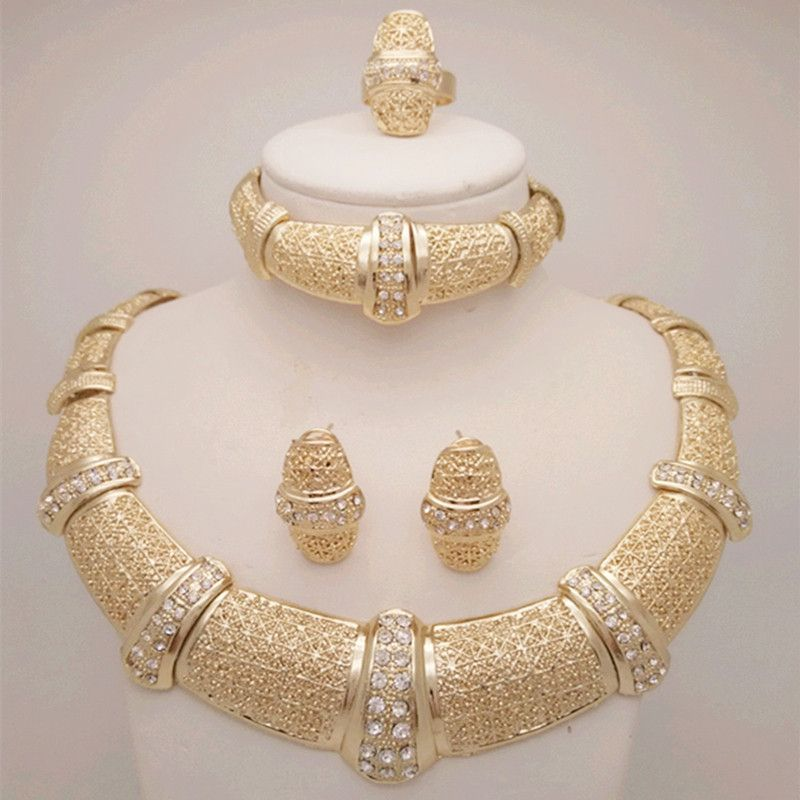 9de019199d15d5 18K Nigerian Beads Wedding Jewelry Set Bridal Dubai Gold Plated Jewelry  Sets African Beads Jewelry Set