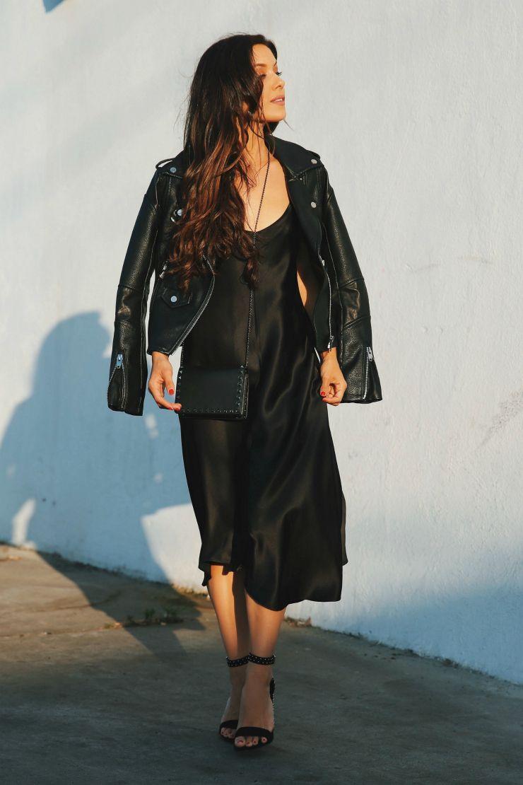 Slip Dress Leather Moto Jacket Andee Layne Leather Jacket Dress Jacket Over Dress Slip Dress Outfit [ 1110 x 740 Pixel ]