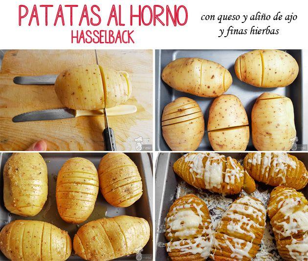 Patatas al horno con queso estilo Hasselback con aliño de ajo y finas hierbas