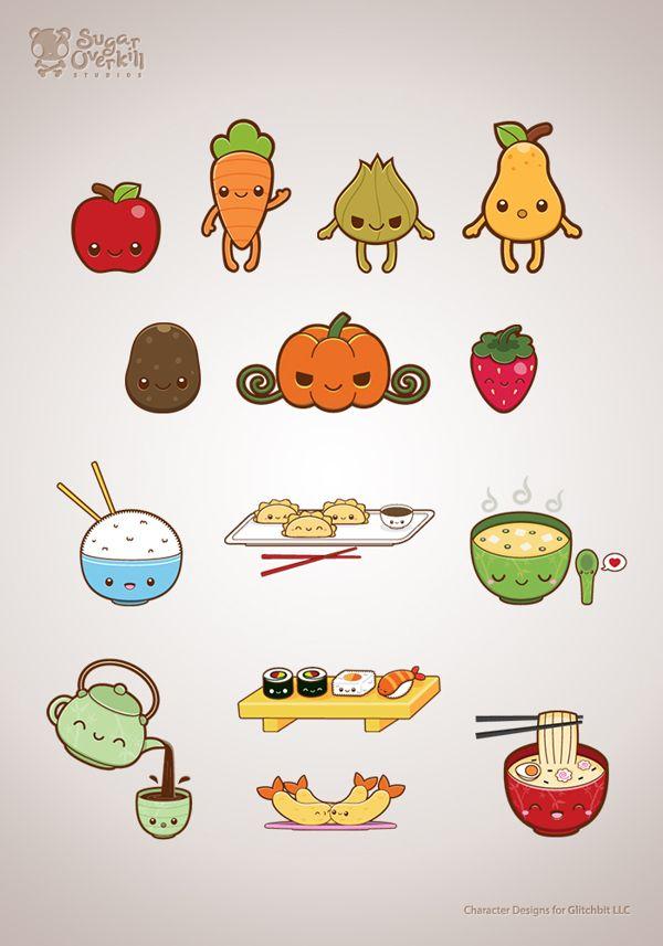 Cutekawaii Food Illustration Set By Michele Liza Pelayre Via