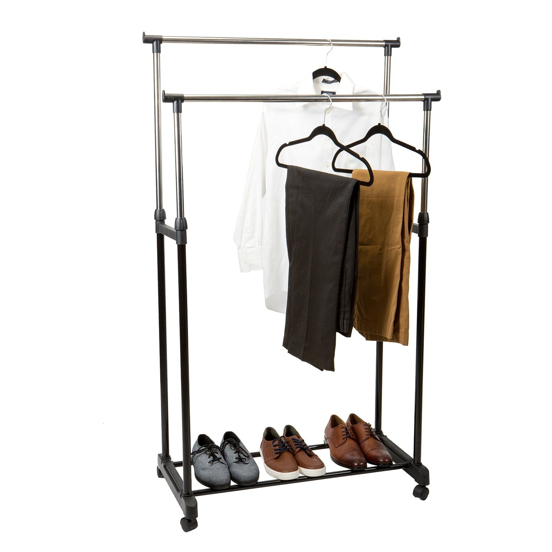 Simplify Double Tier Adjustable Height Rolling Garment Rack Affiliate Tier Spon Adjustable S Garment Racks Rolling Garment Rack Decorating Small Spaces
