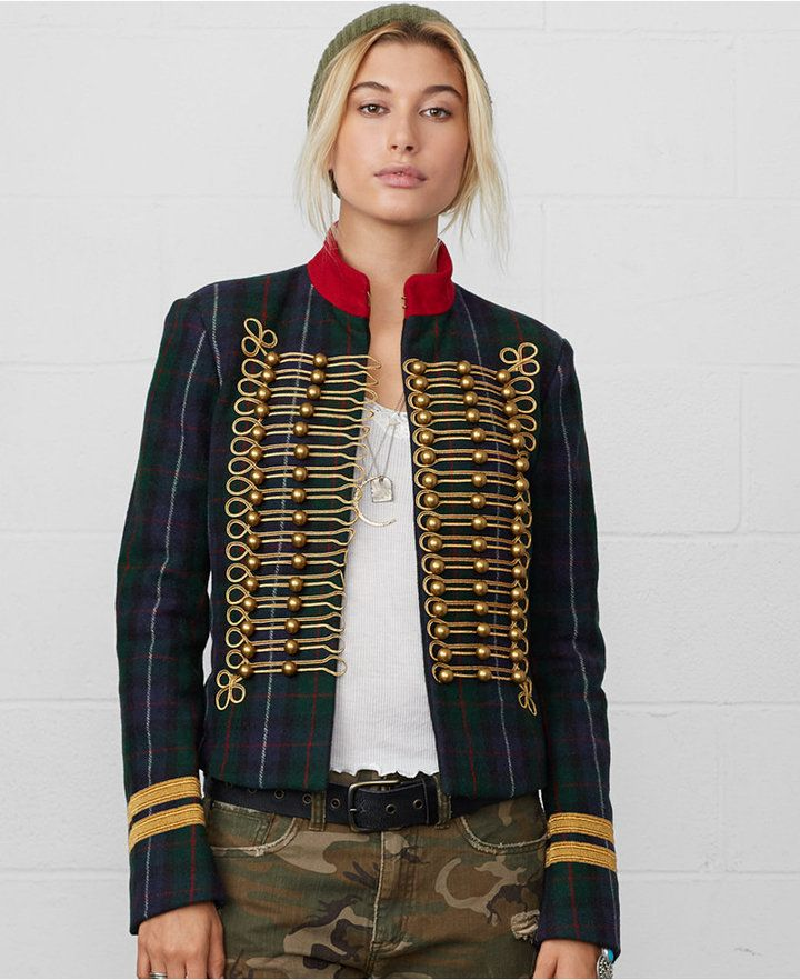 Denim Amp Supply Ralph Lauren Braided Plaid Military Jacket