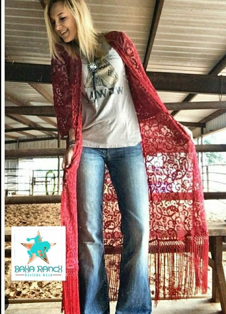 Restocked Cowgirl Red Burgandy Lace Duster Fringe Kimono
