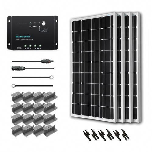 Renogy 400w 12v Solar Starter Kit Features Four 100w 12v Solar Panel One 30 Amp Pwm Charge Controller One In 2020 Solar Energy Panels Solar Technology Off Grid Solar