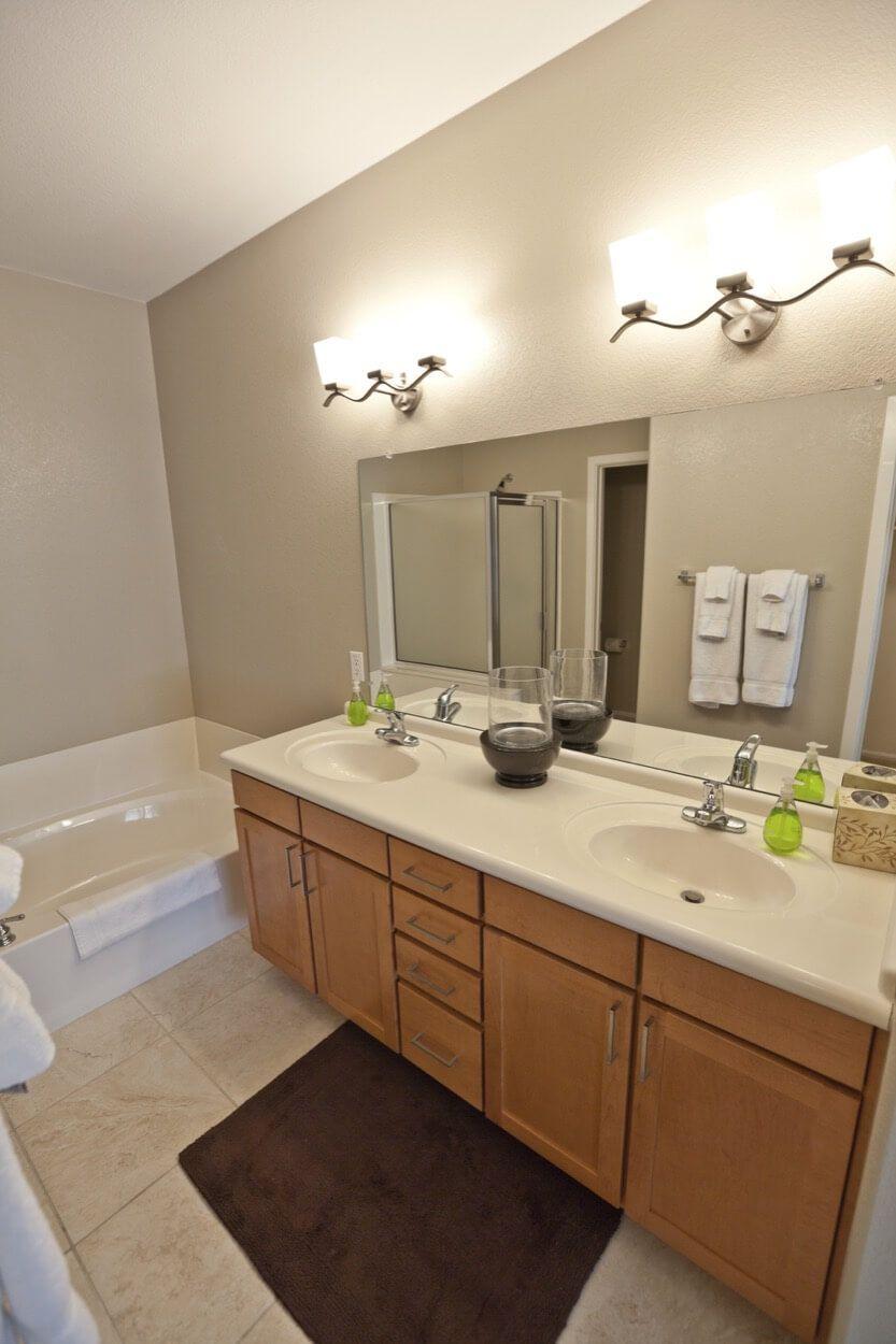 Double Vanity With Single Mirror And Double Overhead Light Fixtures ·  Double VanityBathroom RemodelingMaster BathroomsCincinnatiOhioShowroomProjectsLight  ...
