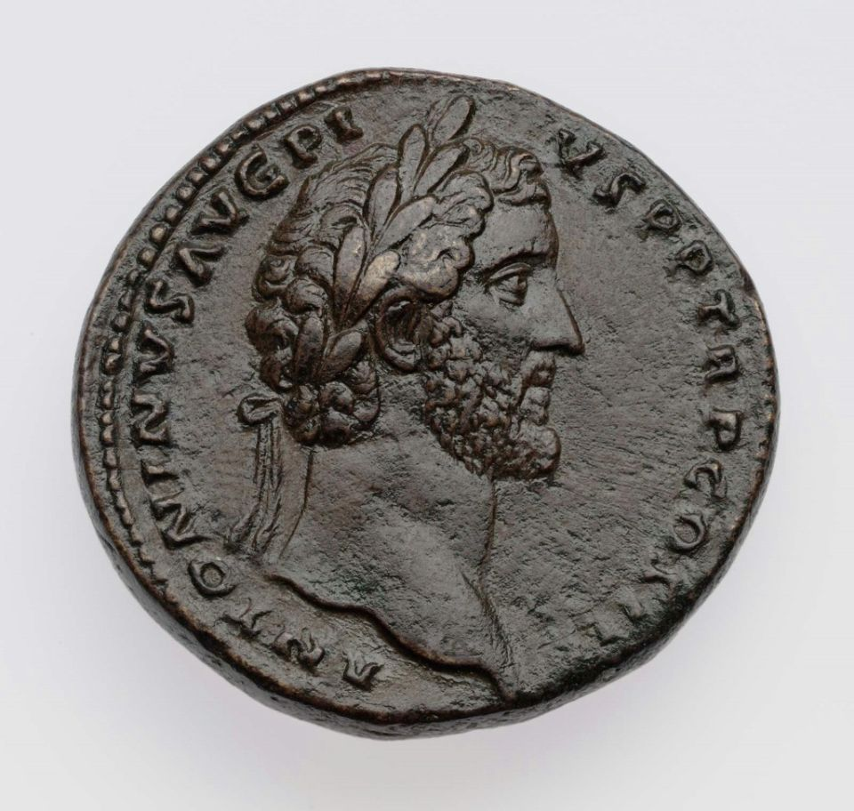 Sestertius with bust of Antoninus Pius. Roman, Imperial Period, abt. A.D. 140-144