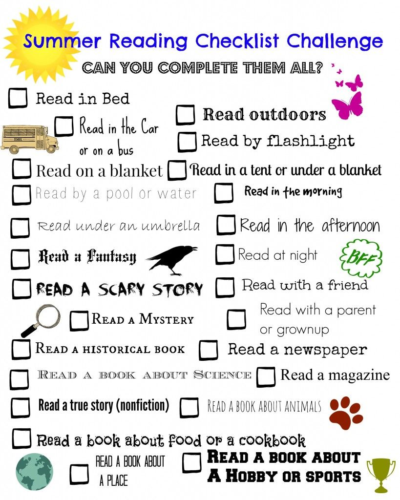 Summer Reading Challenge Checklist Free Printable Summer