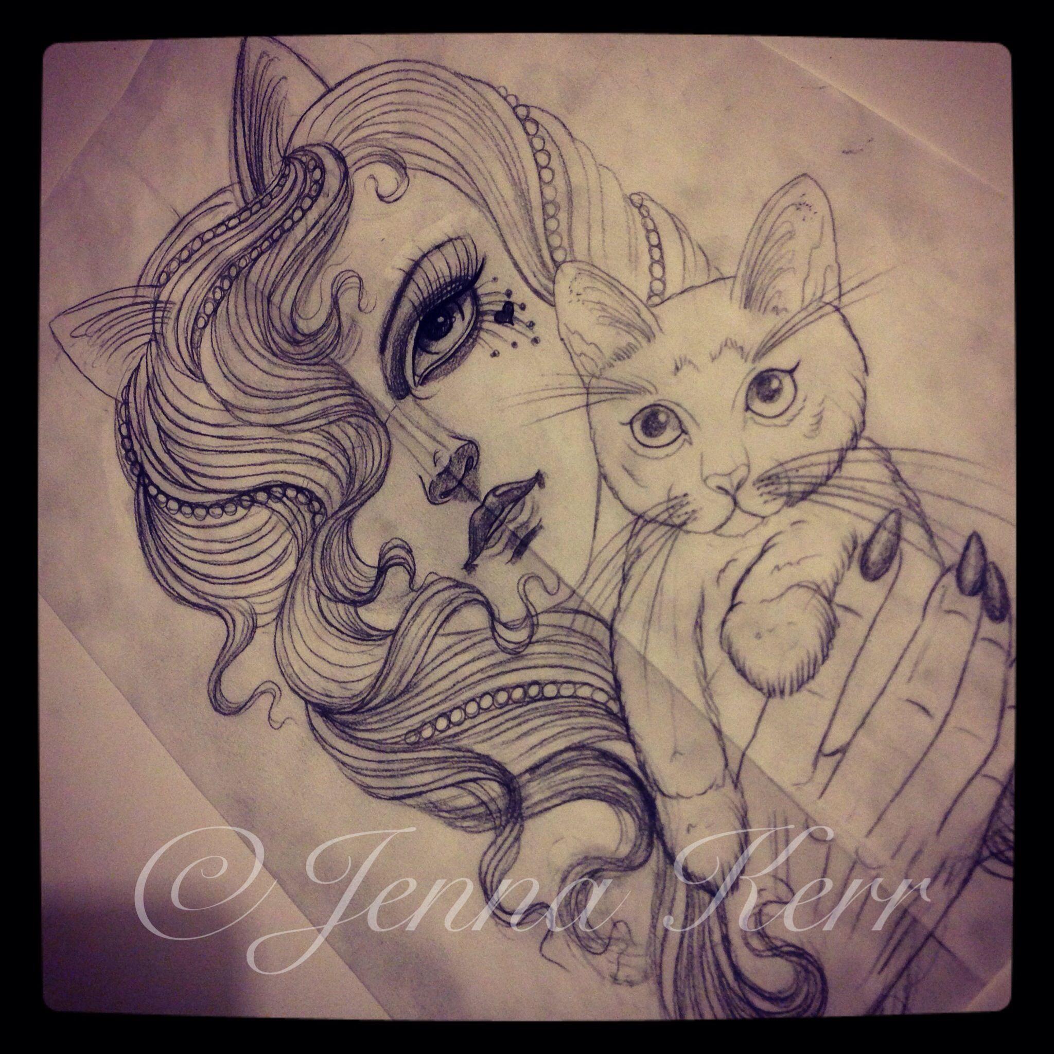 cat madcatlady jennakerr tattoo sketch tattoos by jenna kerr pinterest tattoo and. Black Bedroom Furniture Sets. Home Design Ideas