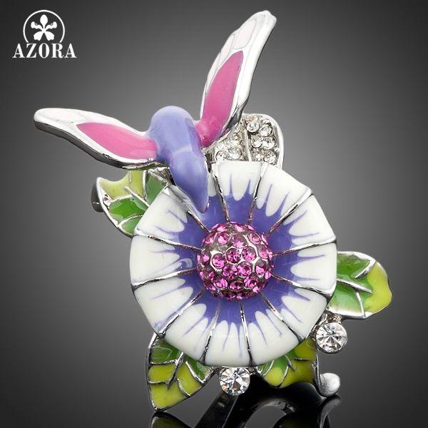 Azora 화이트 골드 도금 stellux 오스트리아 크리스탈 새 꽃 디자인 링 tr0016