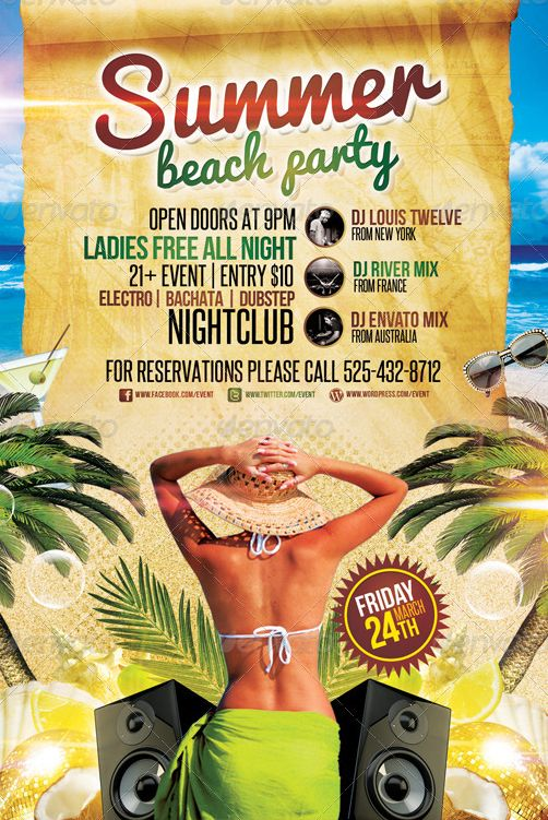 summer beach party flyer template - Google Search Flyers I like - beach party flyer template