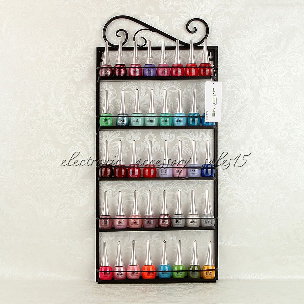 Details about Black Metal Nail Polish Wall Mount Rack stand ...