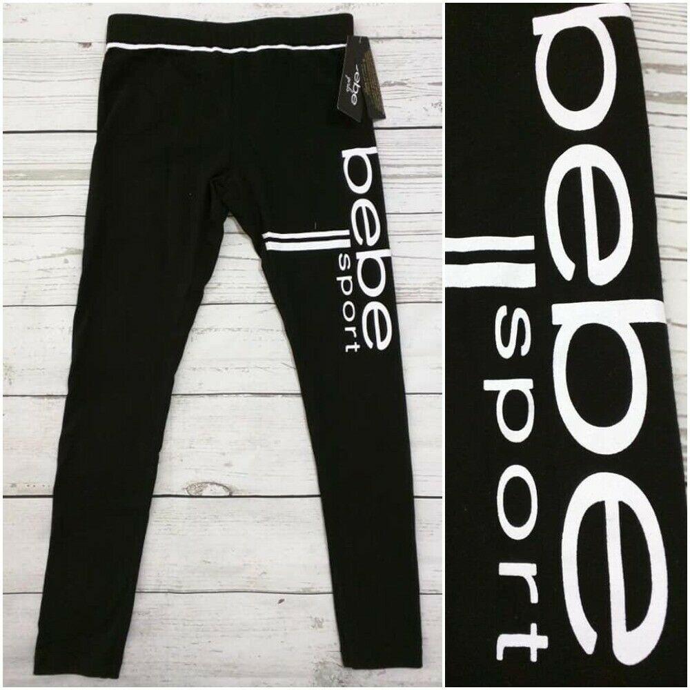 bf1ca559fdf New BEBE SPORT Black Legging Pants Big Logo Girl Size Large 14 Nwt #Bebe #