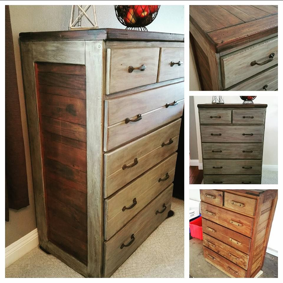 Rustic distressed dresser makeover using bbfrosch chalkpaint powder with a dark brown and sage green