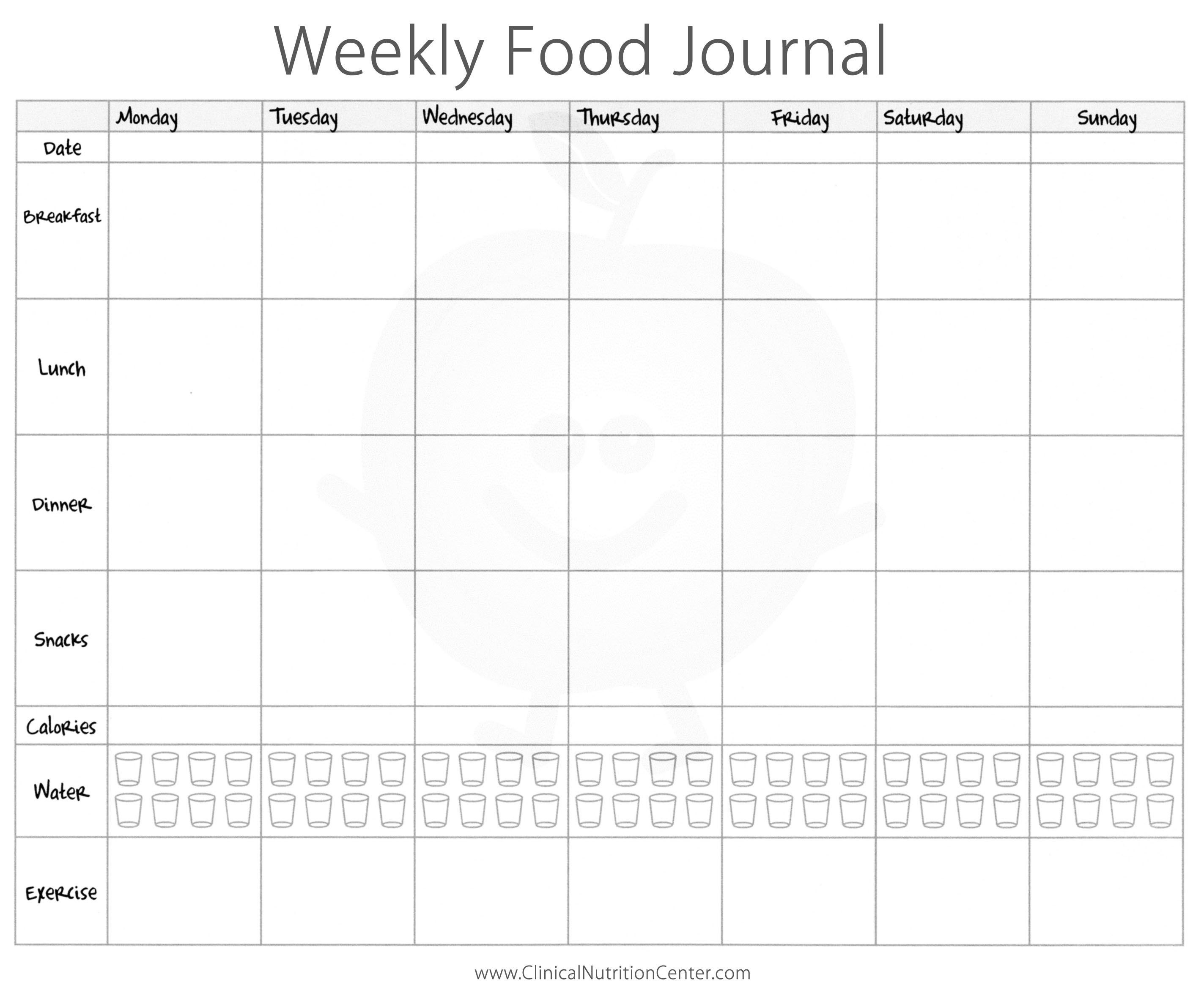 Weekly Food Journal Printable Paul's House Health Nut